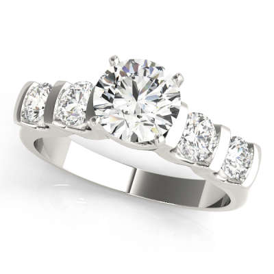 David Stern Jewelers 14kt White Gold Single Row Engagement Ring 50267-E