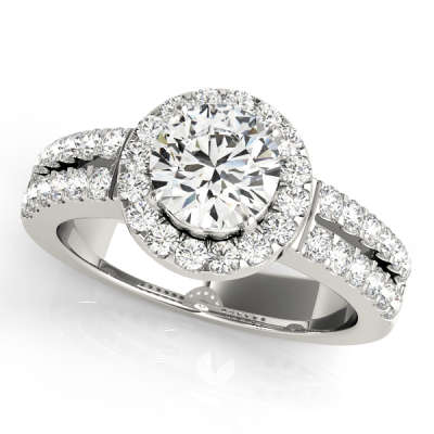 David Stern Jewelers 14kt White Gold Halo Head Engagement Ring 50378-E-1
