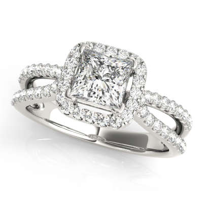 David Stern Jewelers 14kt White Gold Halo Head Engagement Ring 50552-E-1