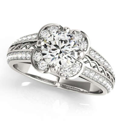 David Stern Jewelers 14kt White Gold Halo Head Engagement Ring 50569-E-1