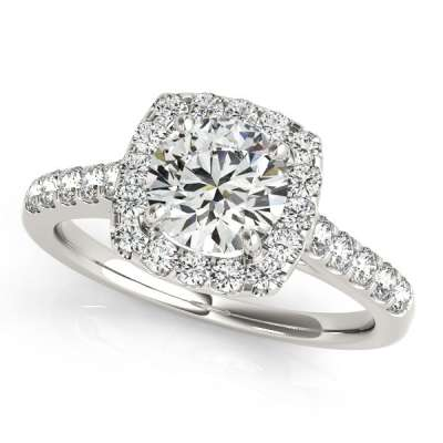 David Stern Jewelers 14kt White Gold Halo Head Engagement Ring 50576-E-1