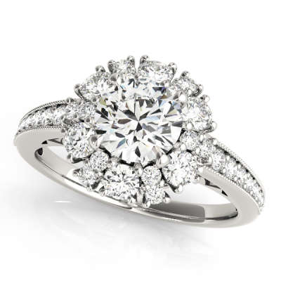 David Stern Jewelers 14kt White Gold Halo Head Engagement Ring 50879-E