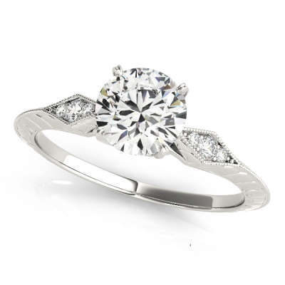 David Stern Jewelers 14kt White Gold Vintage Engagement Ring 50971-E-1