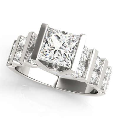 David Stern Jewelers 14kt White Gold MultiRow Engagement Ring 80415