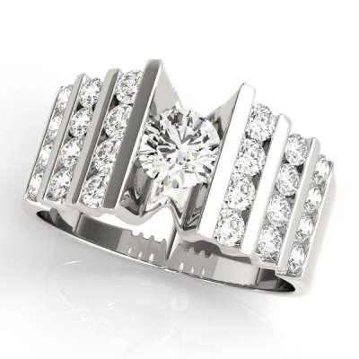 David Stern Jewelers 14kt White Gold MultiRow Engagement Ring 80871