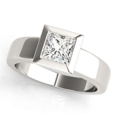 David Stern Jewelers 14kt White Gold Solitaire Engagement Ring 81753-1/2