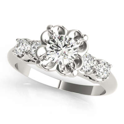 David Stern Jewelers 14kt White Gold Single Row Engagement Ring 82058