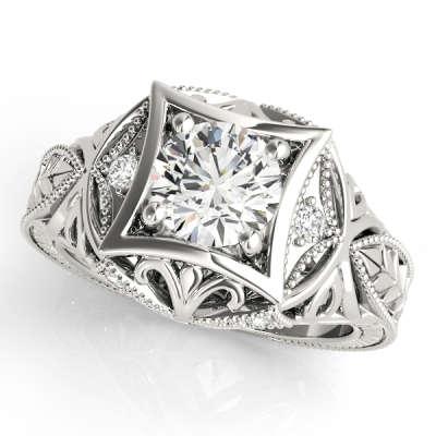 David Stern Jewelers 14kt White Gold Vintage Engagement Ring 83320