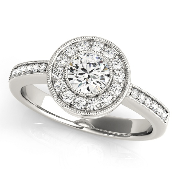 David Stern Jewelers 14kt White Gold Halo Head Engagement Ring 83616