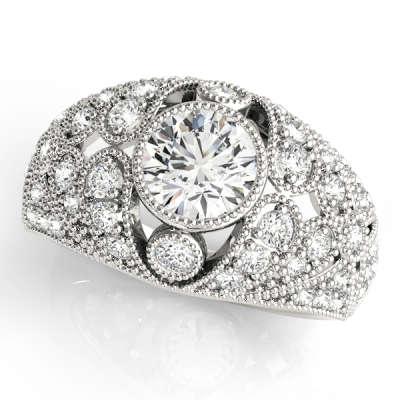 David Stern Jewelers 14kt White Gold Vintage Engagement Ring 83714