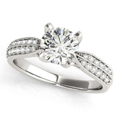 David Stern Jewelers 14kt White Gold Pave Engagement Ring 83735