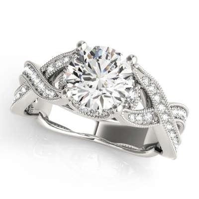 David Stern Jewelers 14kt White Gold MultiRow Engagement Ring 83891