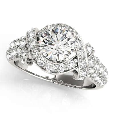 David Stern Jewelers 14kt White Gold MultiRow Engagement Ring 84042