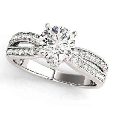 David Stern Jewelers 14kt White Gold MultiRow Engagement Ring 84386