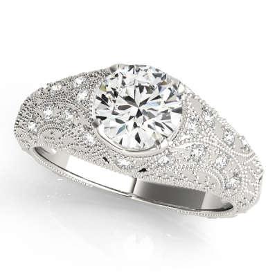 David Stern Jewelers 14kt White Gold Vintage Engagement Ring 84536