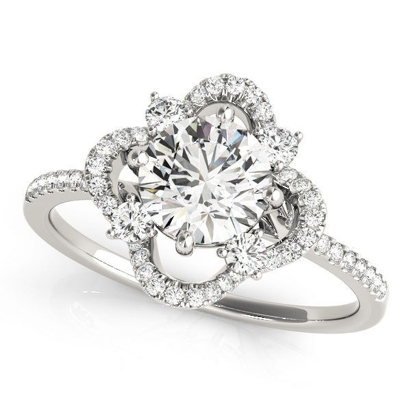 David Stern Jewelers 14kt White Gold Halo Head Engagement Ring 84901